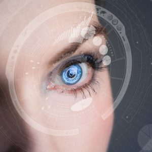 Iris recognition concept Smart contact lens. Mixed media.
